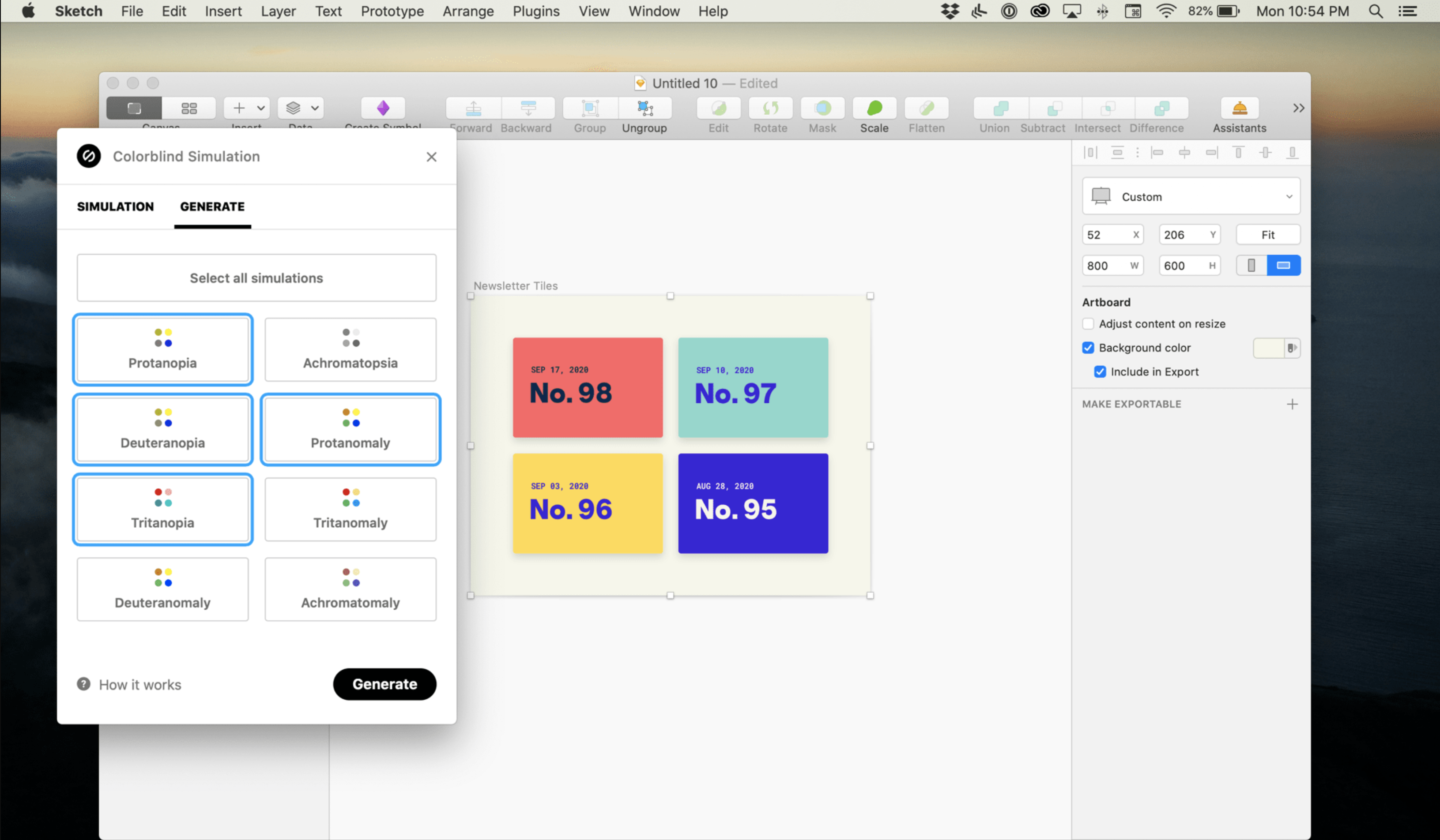 Stark, a plugin for the design software Sketch, it shows different types of colorblindness