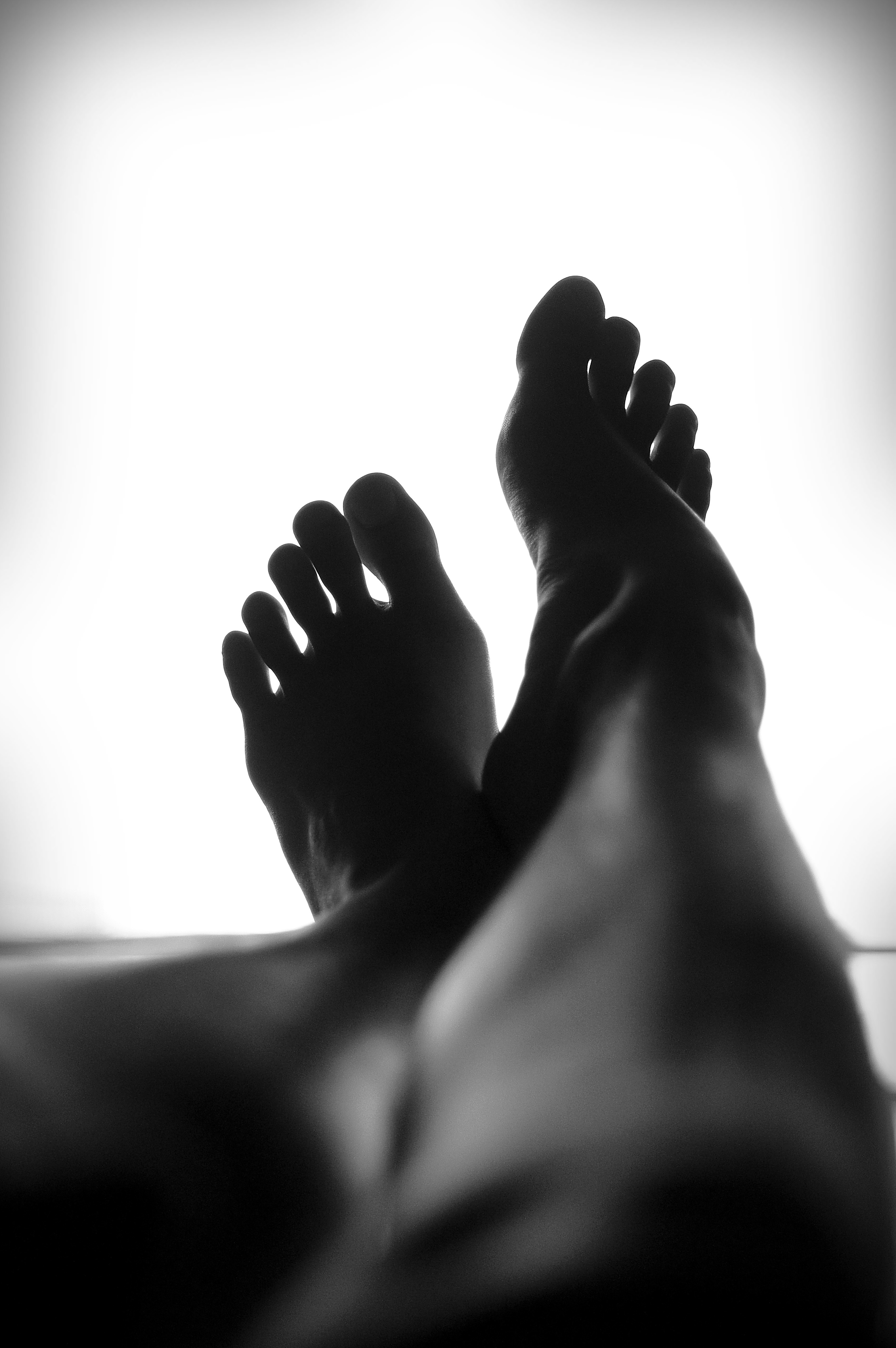 Two feet in black and white