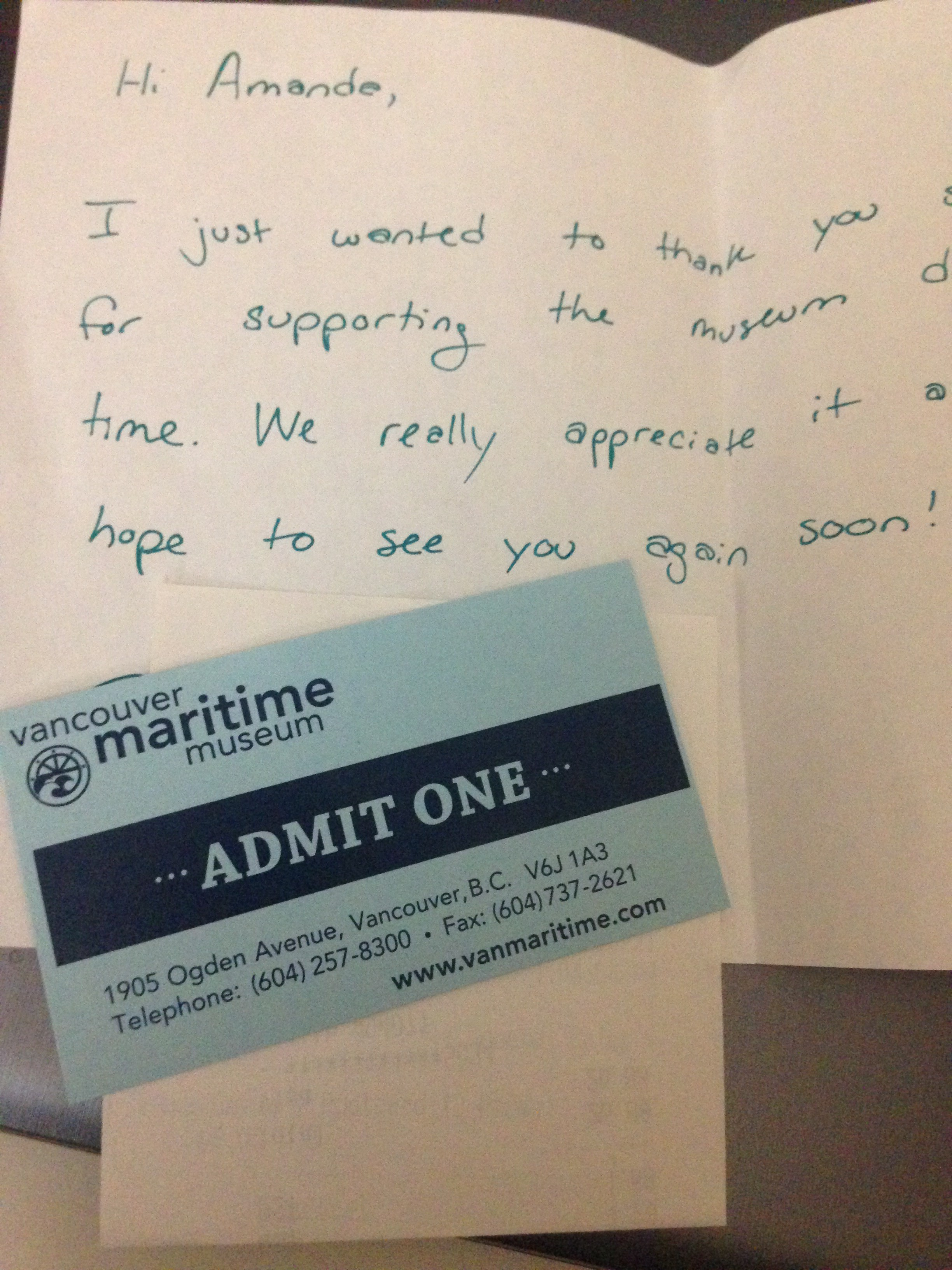 A hand written note of thanks admitance to the maritime museum