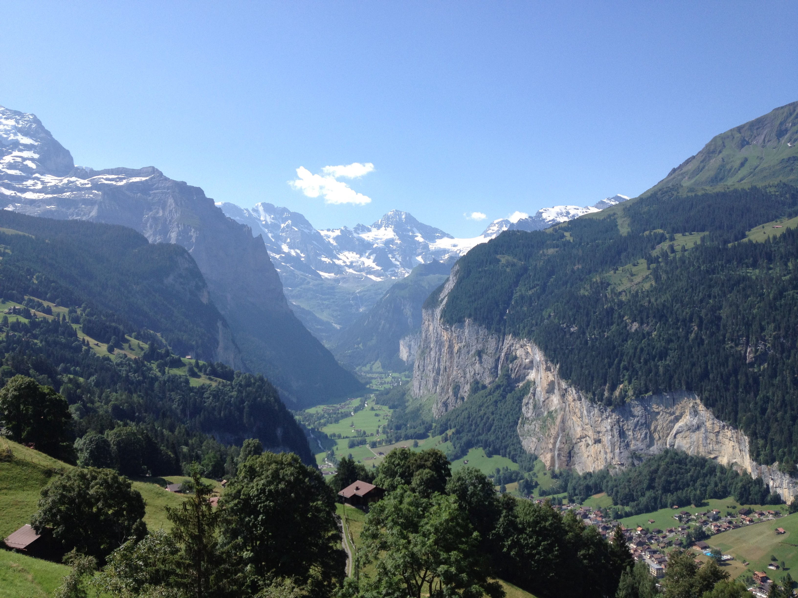 Alpine view of valleys and mountains in Switzerland