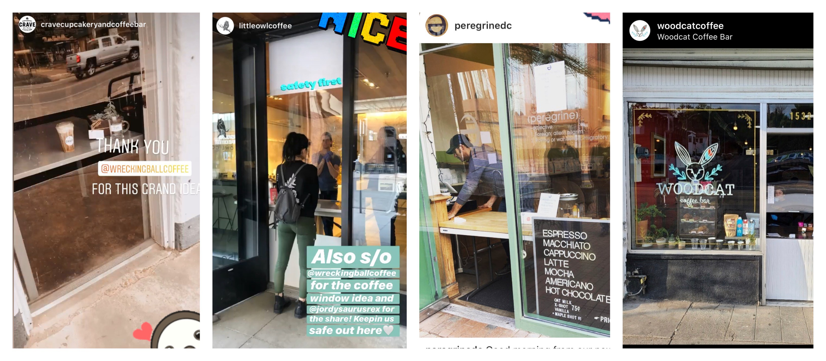 four different instagram posts of cafes with plexiglass screens for their window cafes