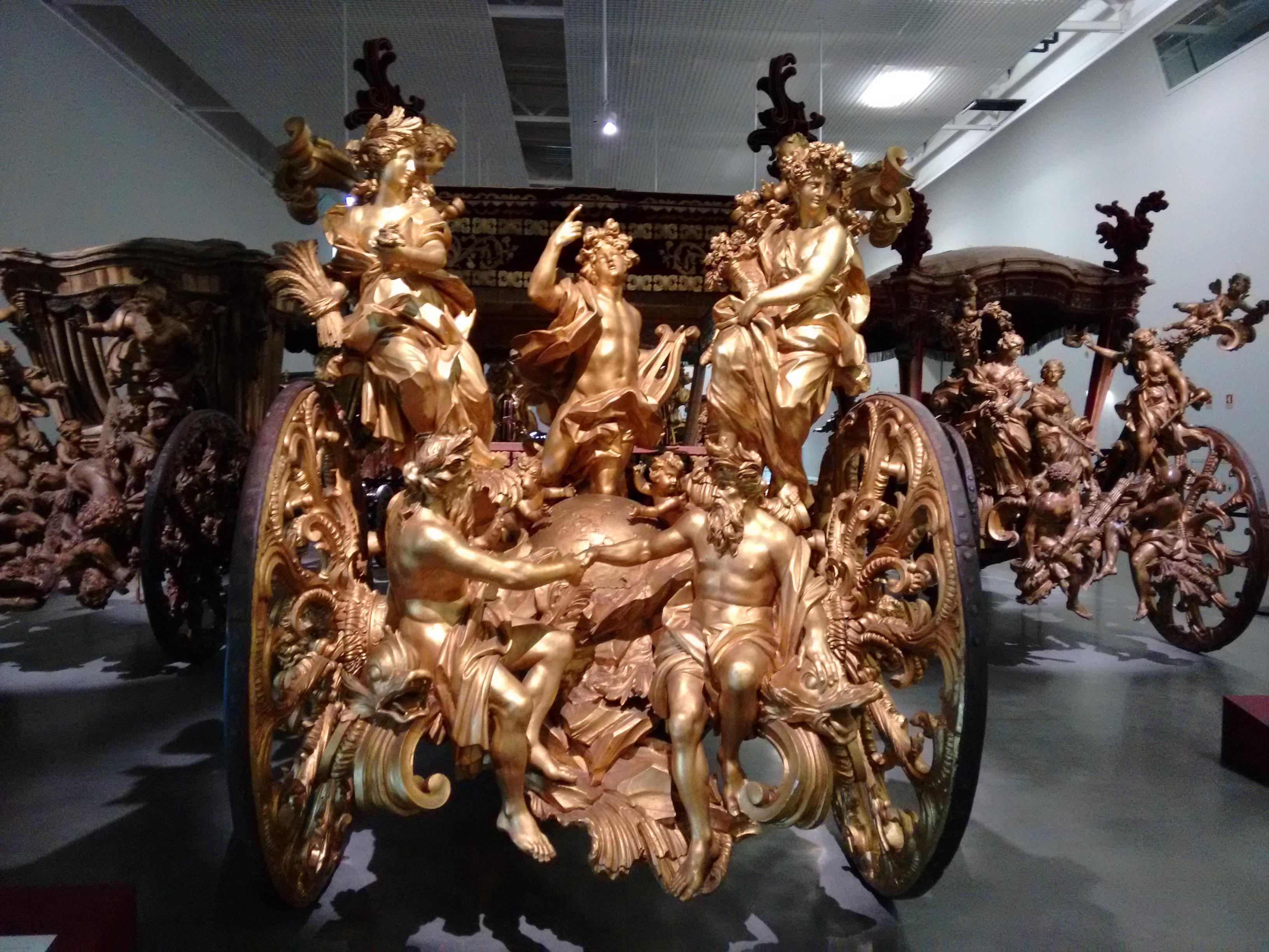 Exquisitely handcrafted gilded wood sculpture on carriage sent on Embassy to Pope Clement XI in 1716