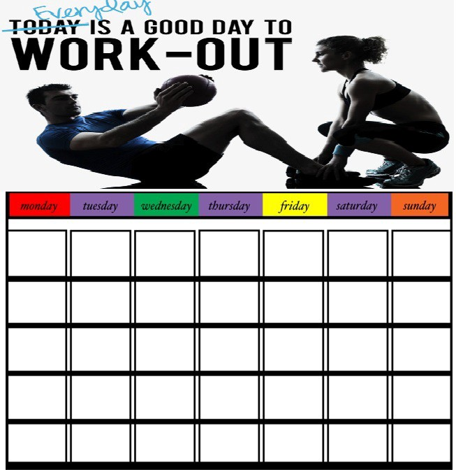 Workout Calendar Template 30 Days Exercise Chart Diet Plan By Printable Calendar Medium