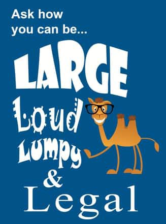 "Braille Works' poster with Seymour and the words, ""Ask how you can be… Large Loud Lumpy & Legal"""