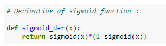 Figure 28: Applying a derivation to our sigmoid function.