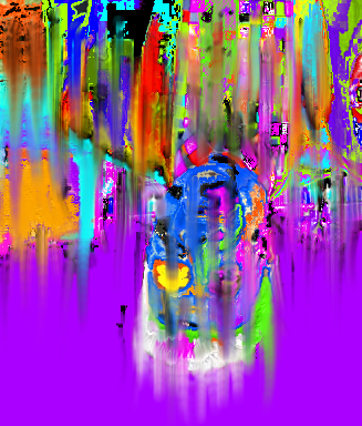 Hanged Man, upside down, in artistic and colorful drooping mixed colors