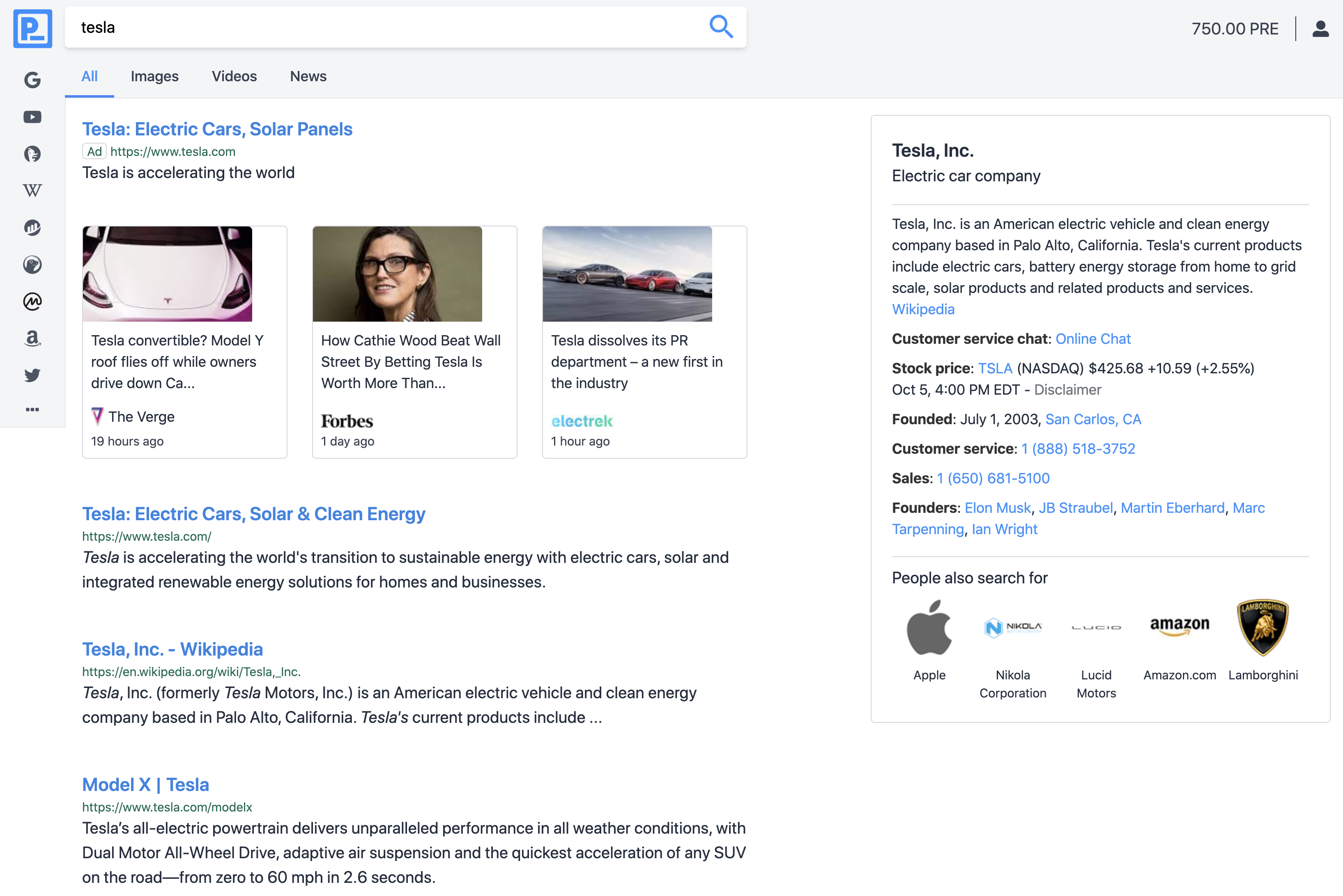 Browser window with search results powered by search nodes.