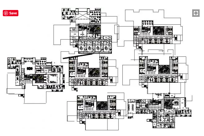 Drawing of the multistorey hospital with different elevation