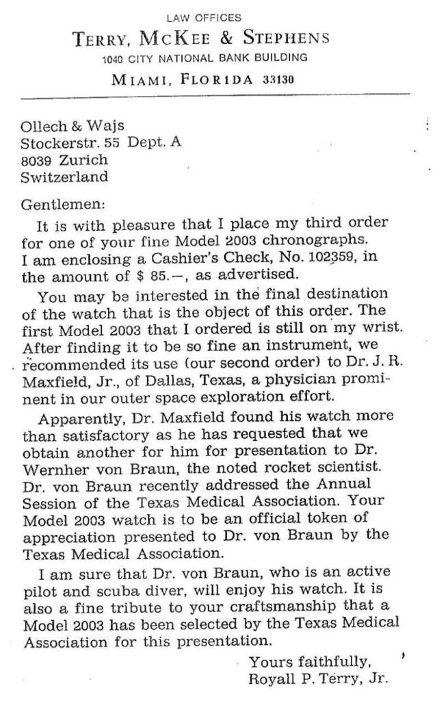A letter from the OW archives requesting a watch for Wernher von Braun