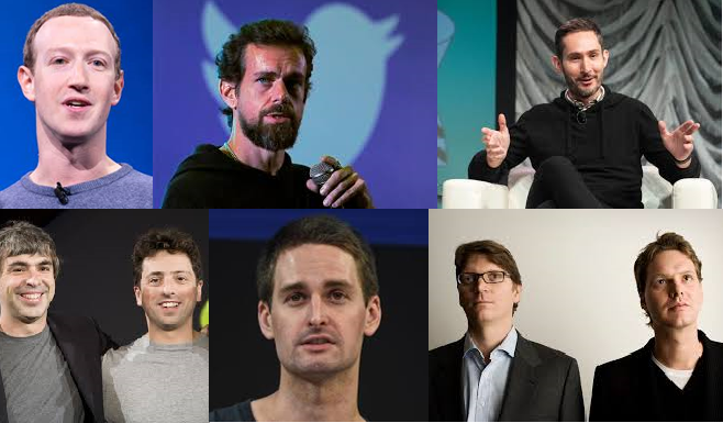 A composite image showing the white, male founders of some of the world's largest tech companies