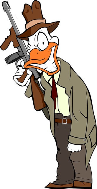 A duck in a trench coat carrying a Tommy gun — Image by OpenClipart-Vectors from Pixabay