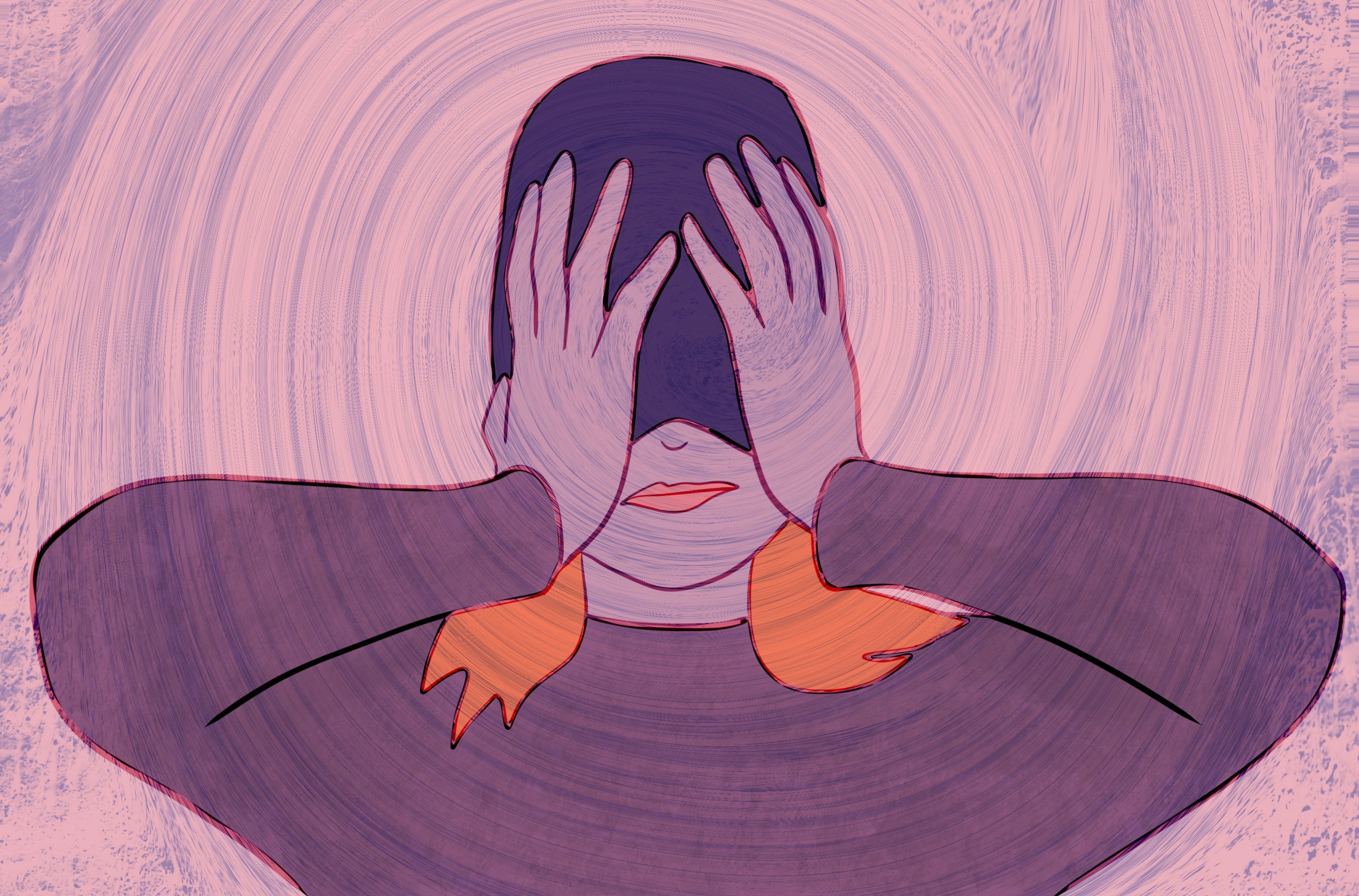 Drawing of a woman with her beanie pulled over her face and her hands over her eyes on a swirling background