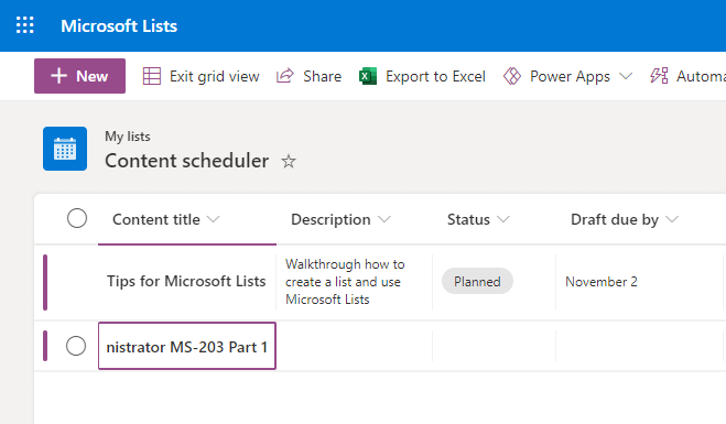 Microsoft Lists Edit in grid view