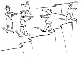 Cartoon of businesspeople blindedfolded, walking around dangerously near a cliff.