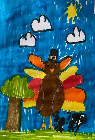 Childs drawing of a turkey