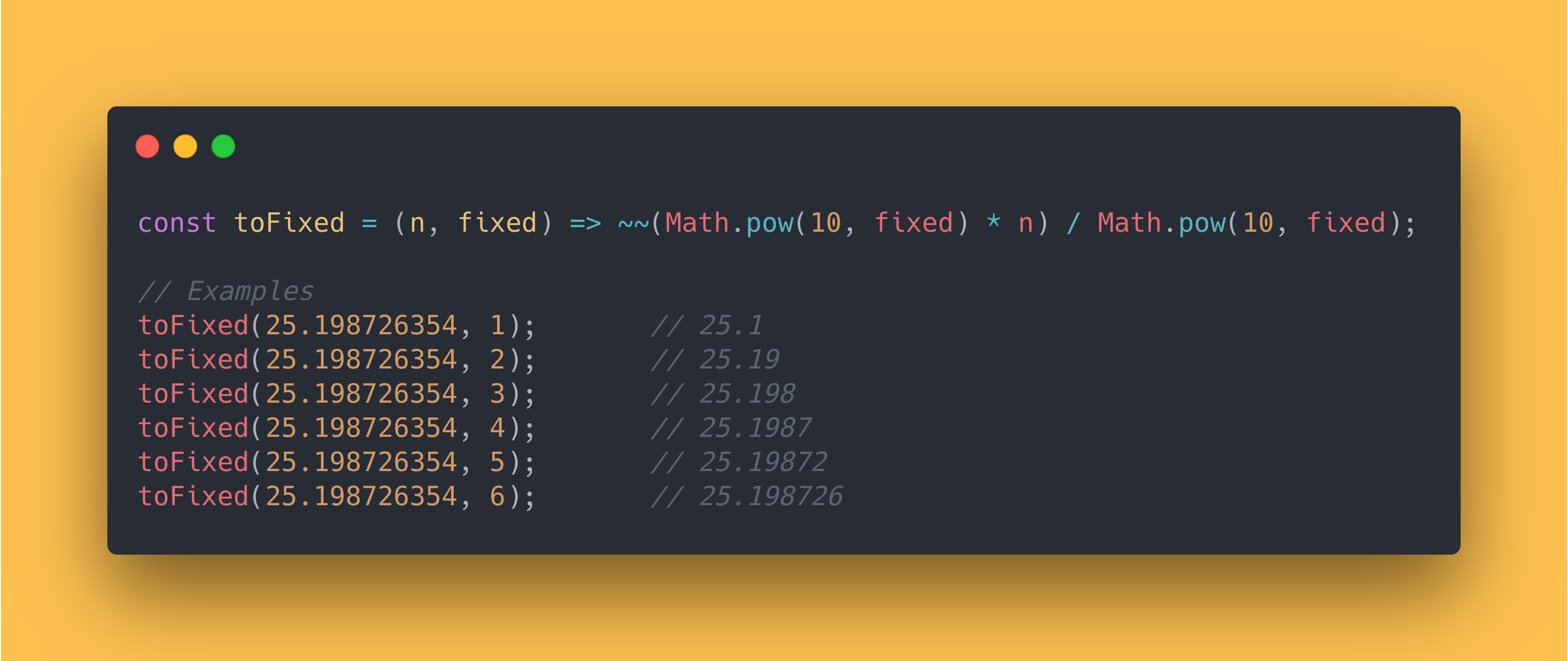 JS code block showing how to round a certain decimal point using the Math Power method.
