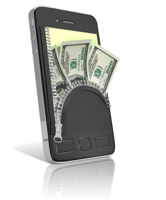 phone with zippered back with cash showing