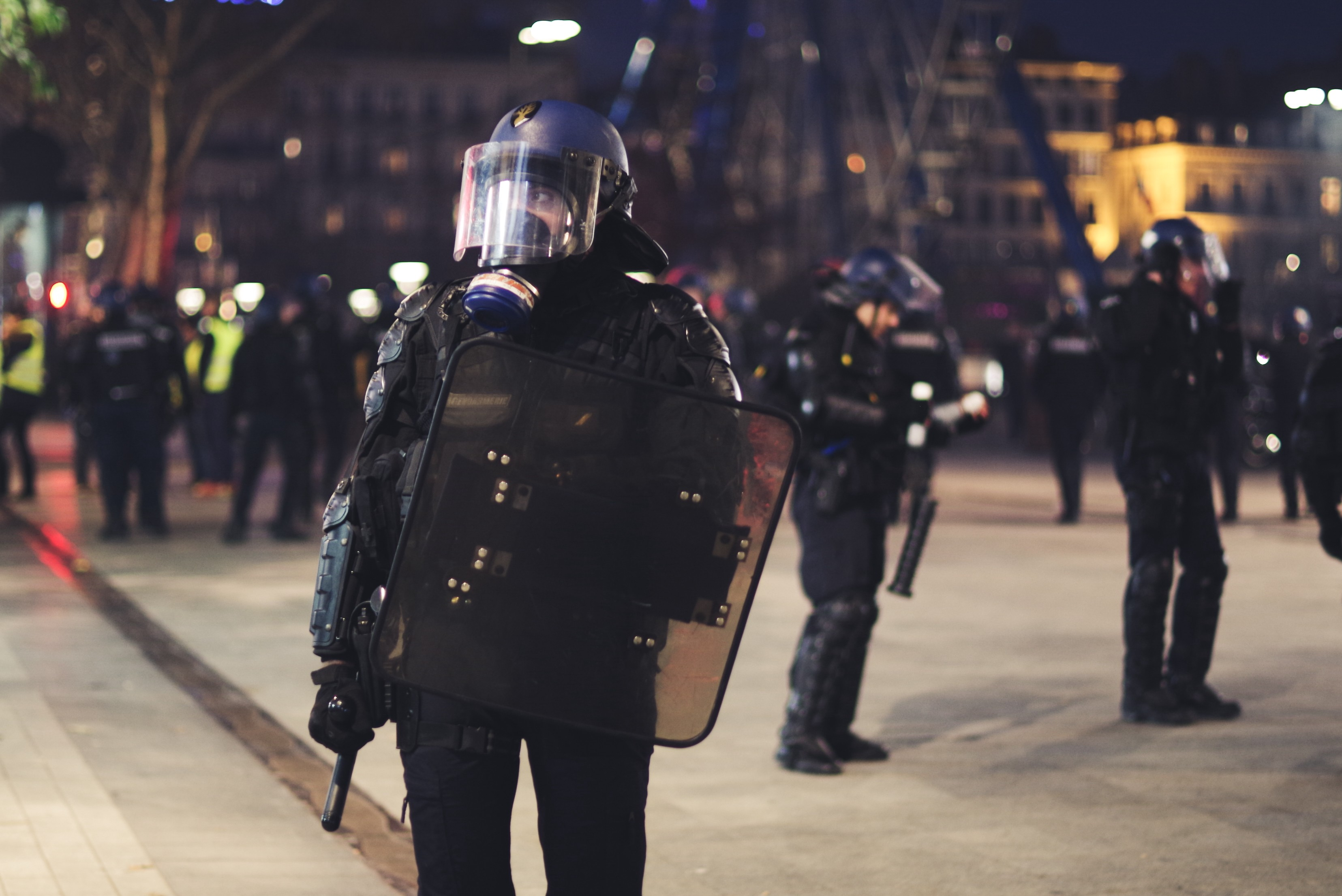 group of heavily armed police officers