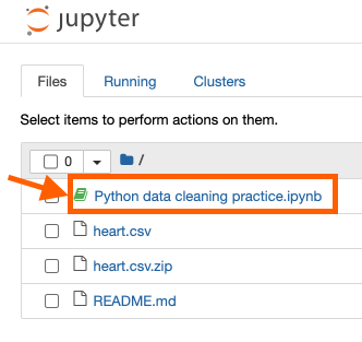 """Jupyter notebook file directory with an arrow pointing to """"Python data cleaning practice.ipynb"""""""