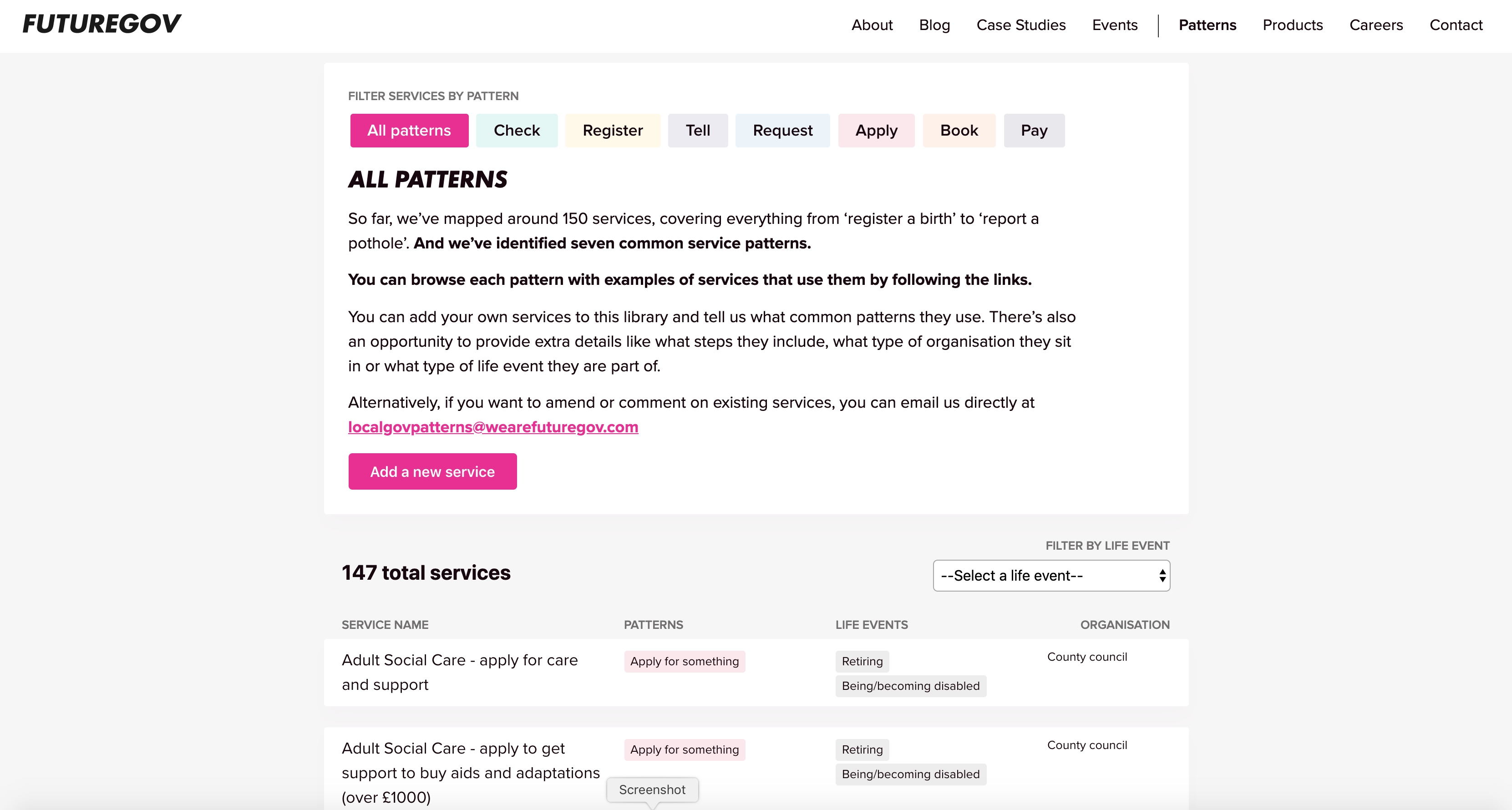 """A screenshot of the FutureGov """"Local Government Patterns"""" service"""