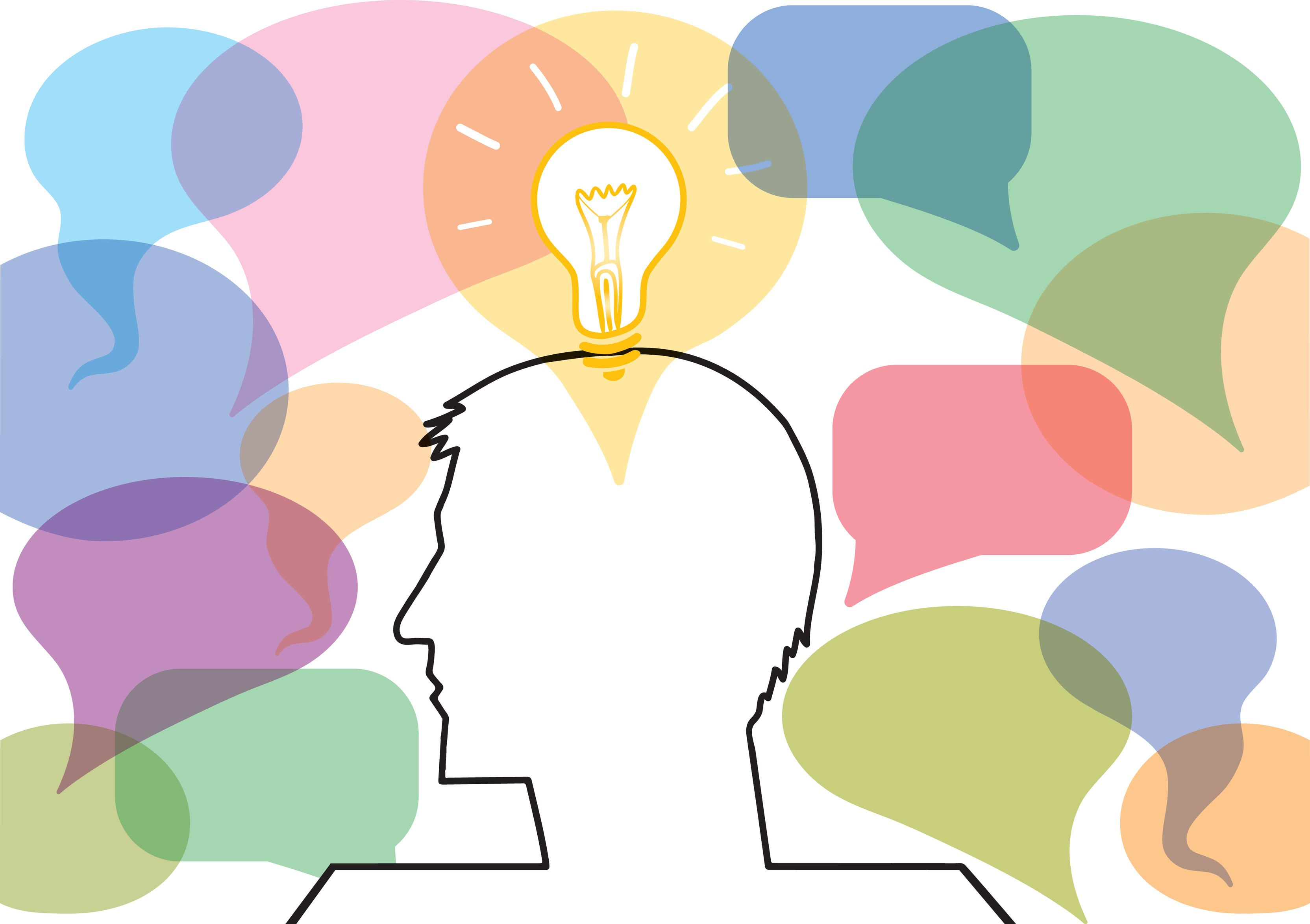 Image showing the outline of a person's face having a lightbulb moment. The face is surrounded by speech bubbles to indicate different perspectives being shared.