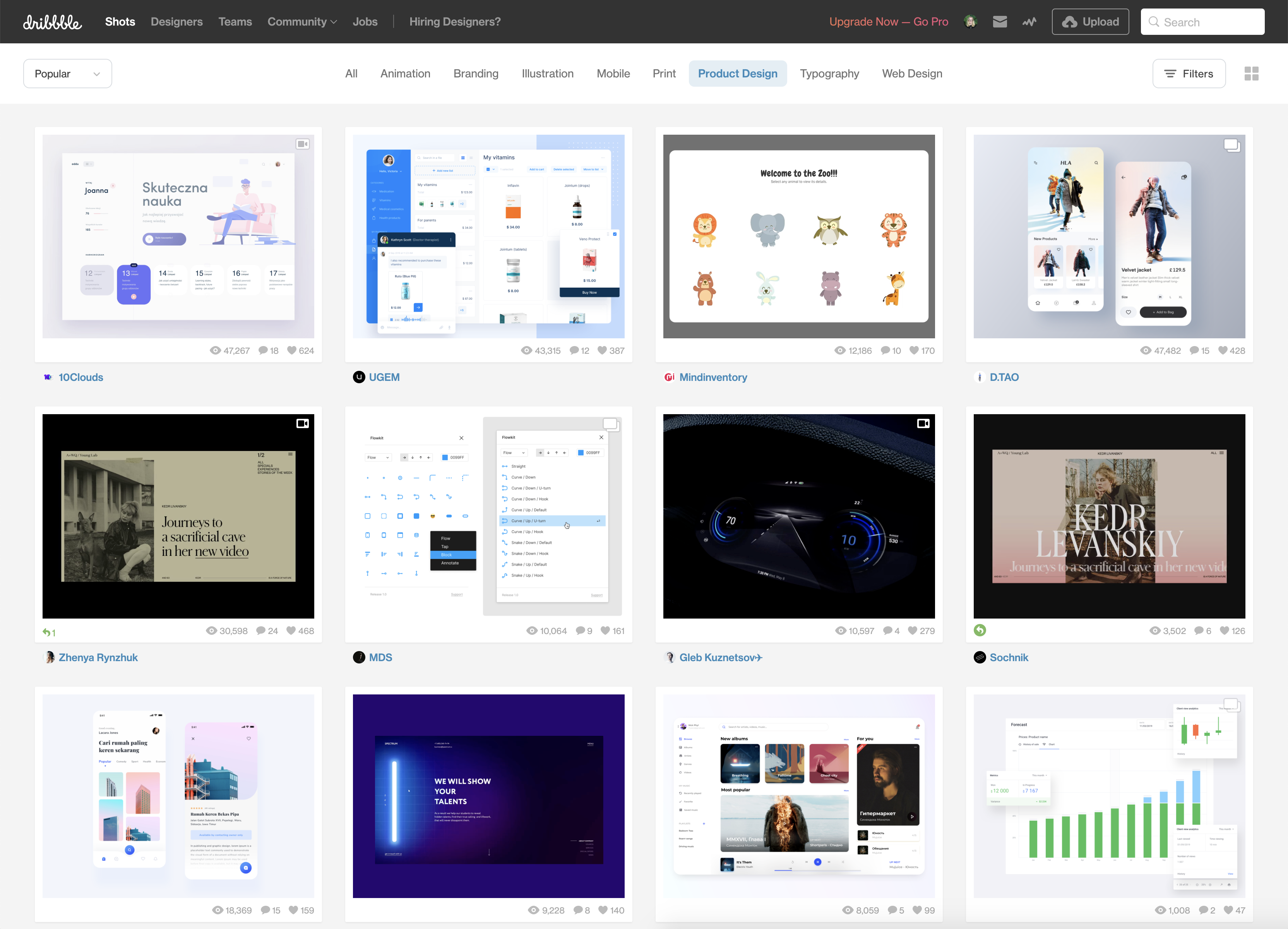 The front page of the website Dribbble, showing monochrome, minimalist websites.
