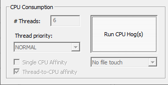 Custom utility running 6 CPU-bound threads each with affinity to a separate processor