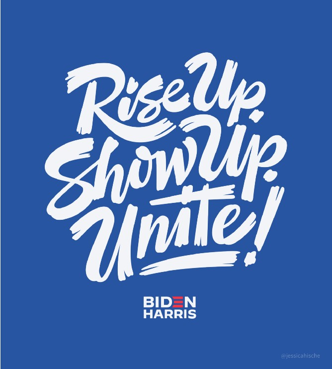 Lettering art of the phrase 'Rise up. Show up. Unite!' by Jessica Hische