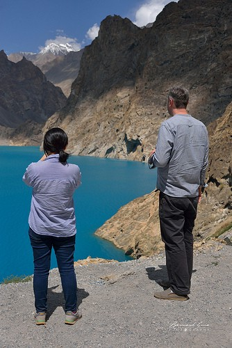 The turquoise blue of Lake Attabad which submerged KKH and villages—Photo © Bernard Grua 2018