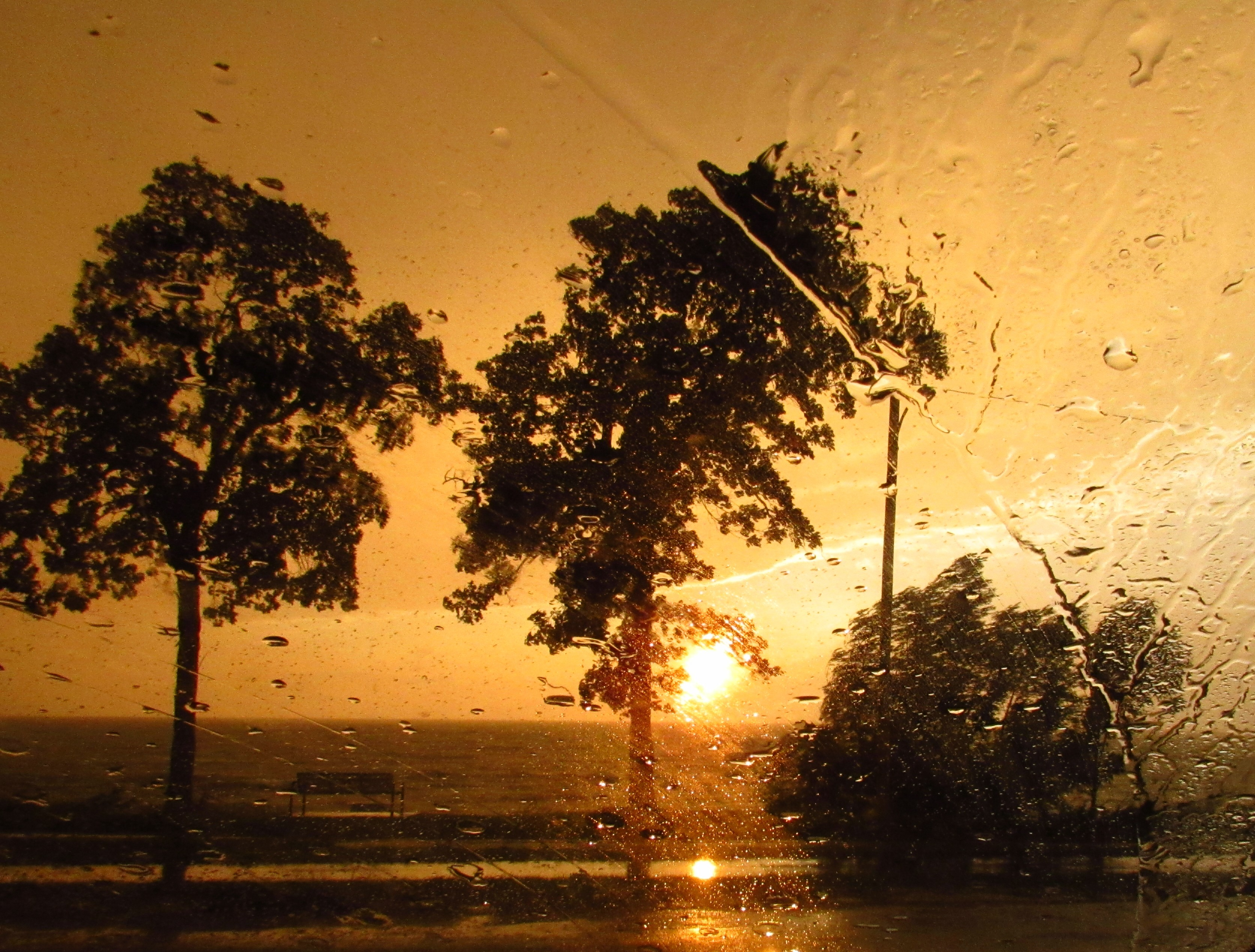 Photo of a sunset taken from behind glass with rain drops on it. There are three trees in the foreground, silhouetted by the sun.