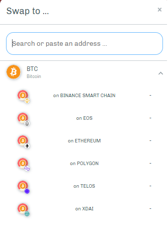 pTokens dApp—Swapping options