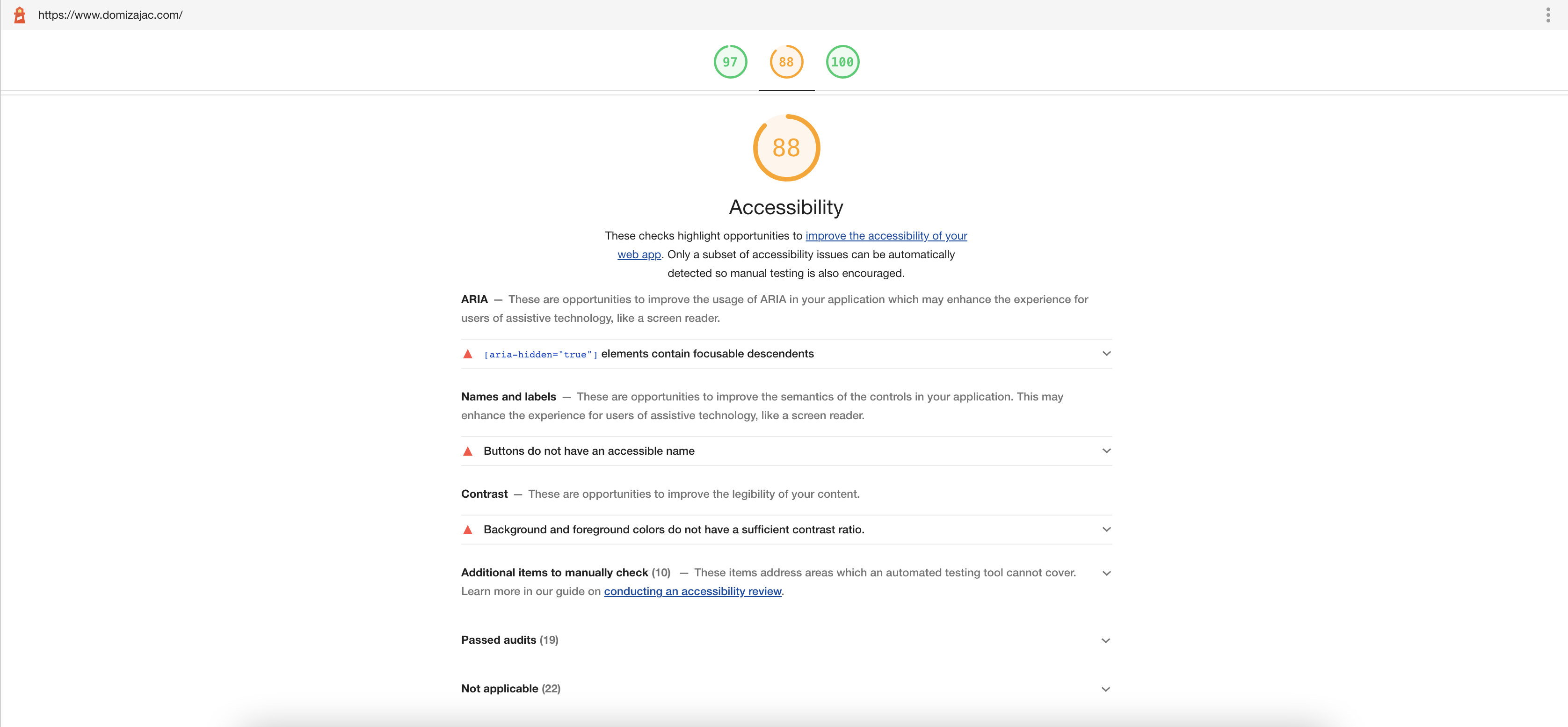 Report of the accessibility test—orange 86 score, expandable list of failing elements and list of passed audits.