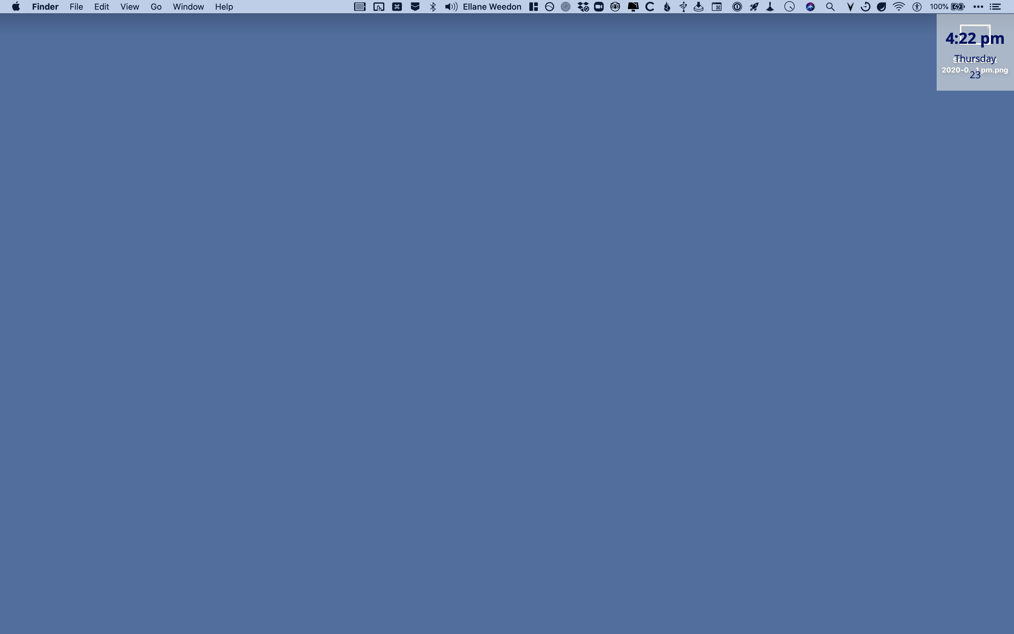 Screenshot of my MacBook Pro without Bartender 3 activated.