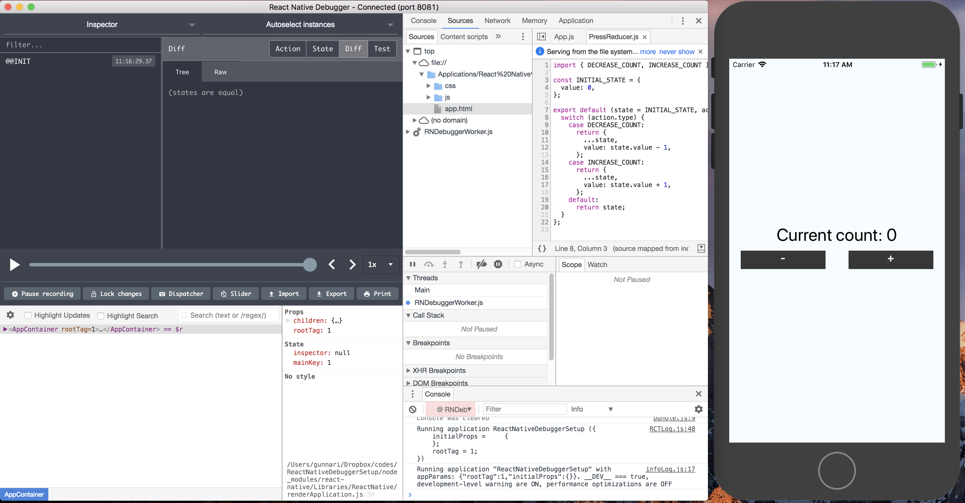 Debugging React Native and Redux with React Native Debugger