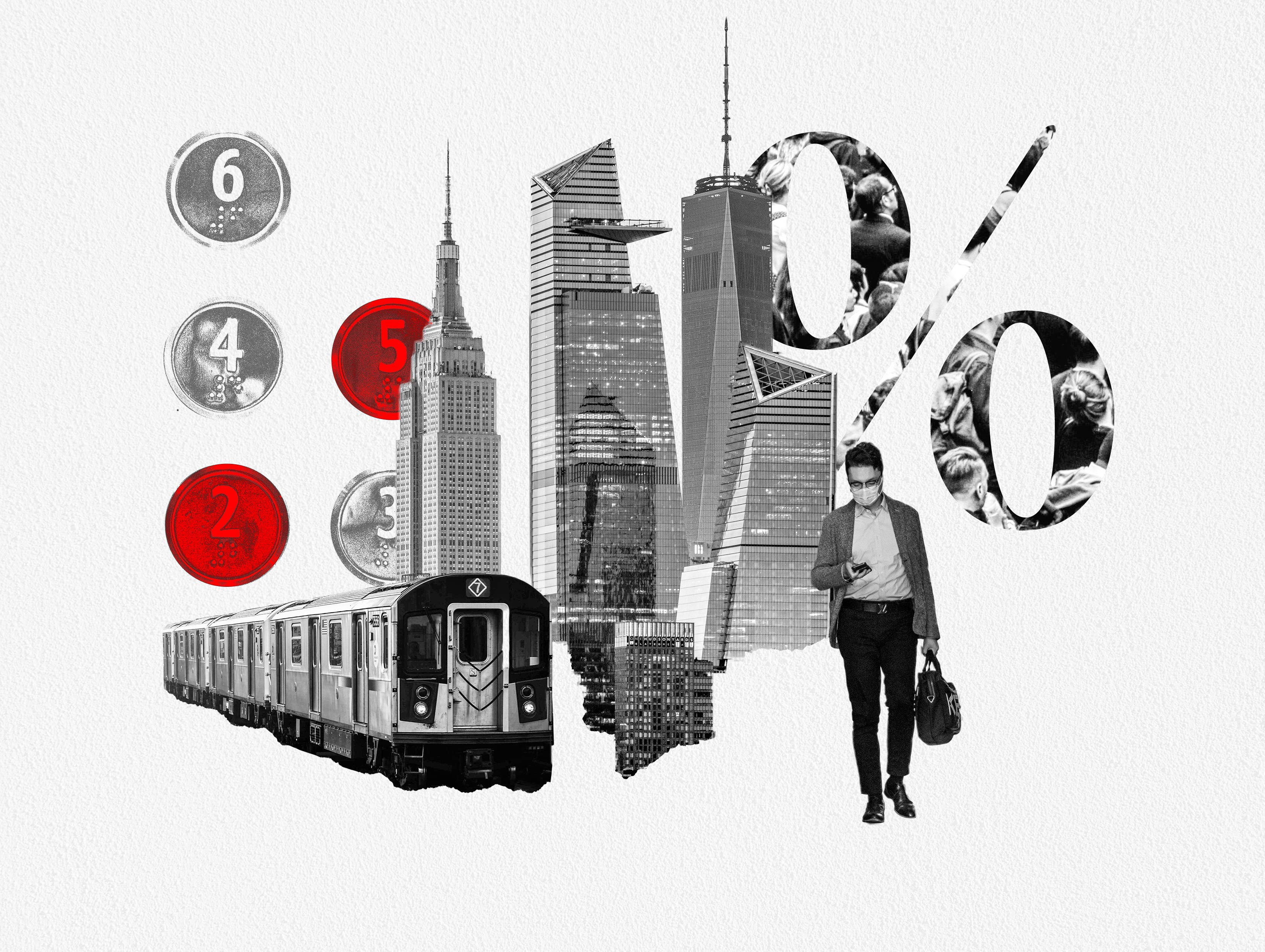 Photo Montage: NYC skyscrapers, Subway Car, Business Person, Elevator Buttons with 2 and 5 highlighted in red, and Percent Symbol.