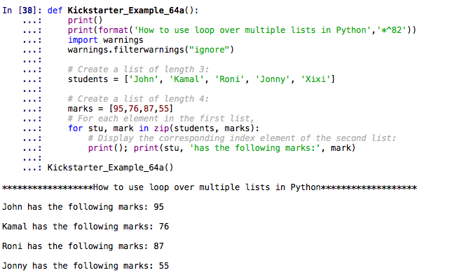 How to use loop over multiple lists in Python - Nilimesh