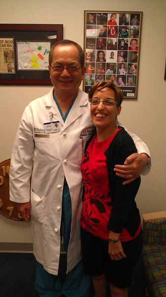 July 2013: Dr. Park and me at my four-month evaluation after SDR.