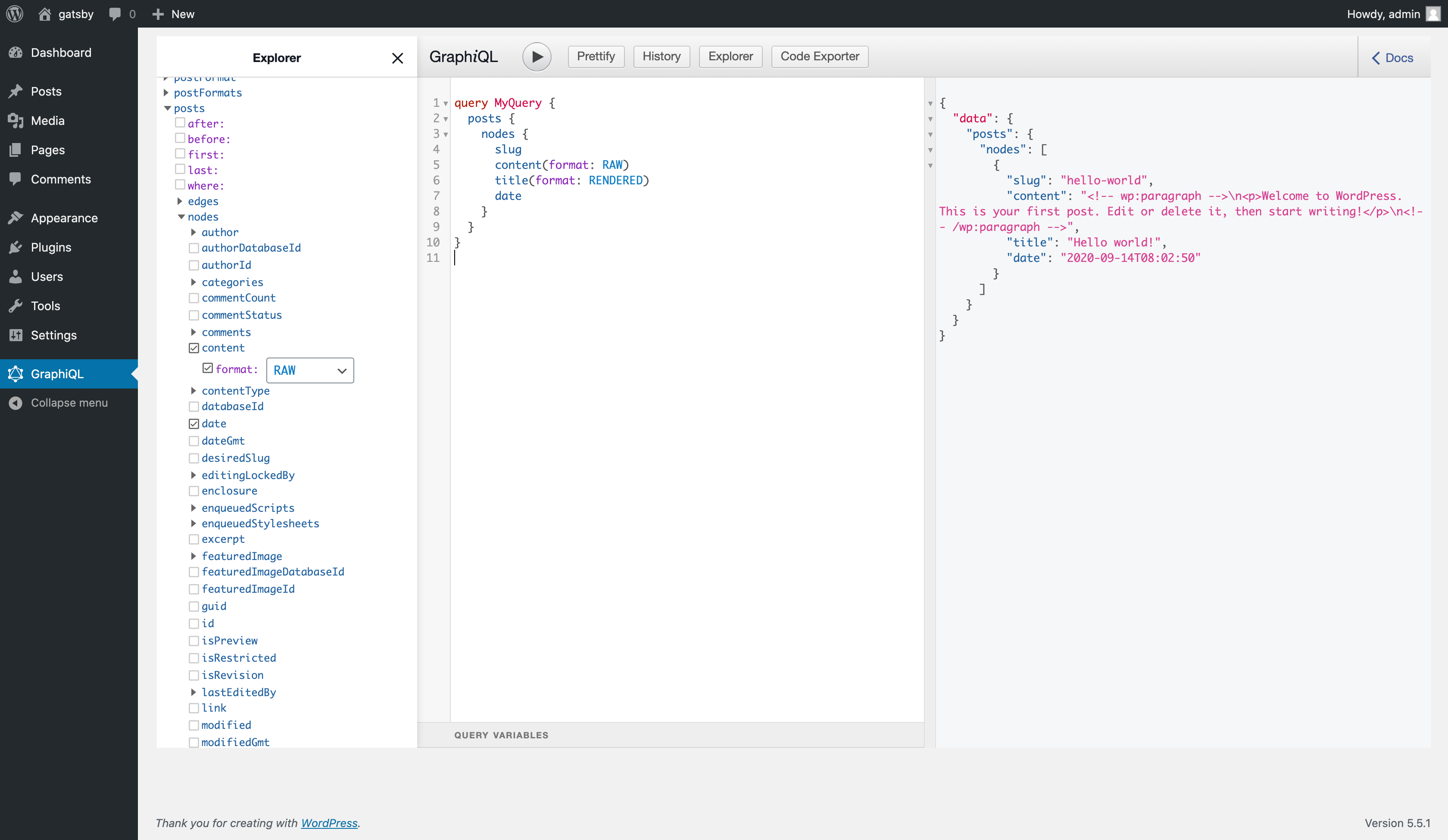 This is the interactive GraphiQL playground after you have installed it in your WordPress dashboard.