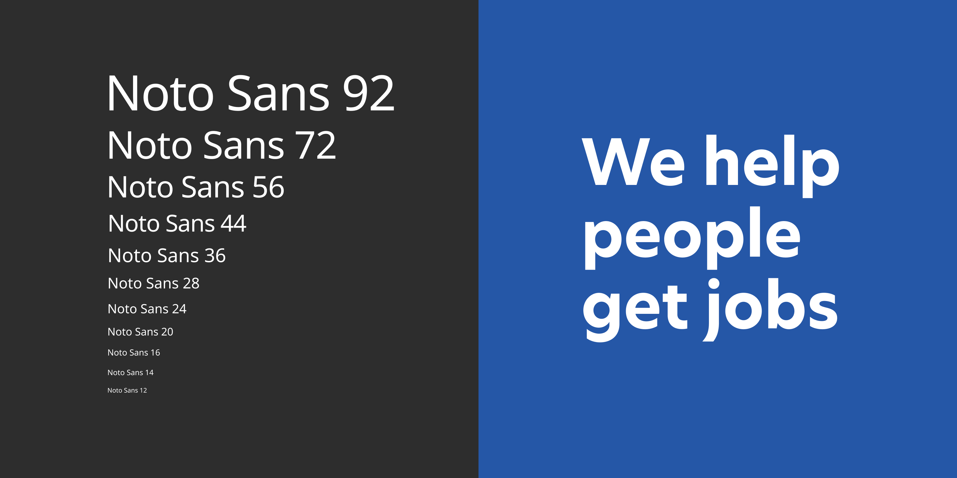 """Split image showing Noto Sans type in different sizes next to text """"We help people get jobs"""" in Indeed Sans."""