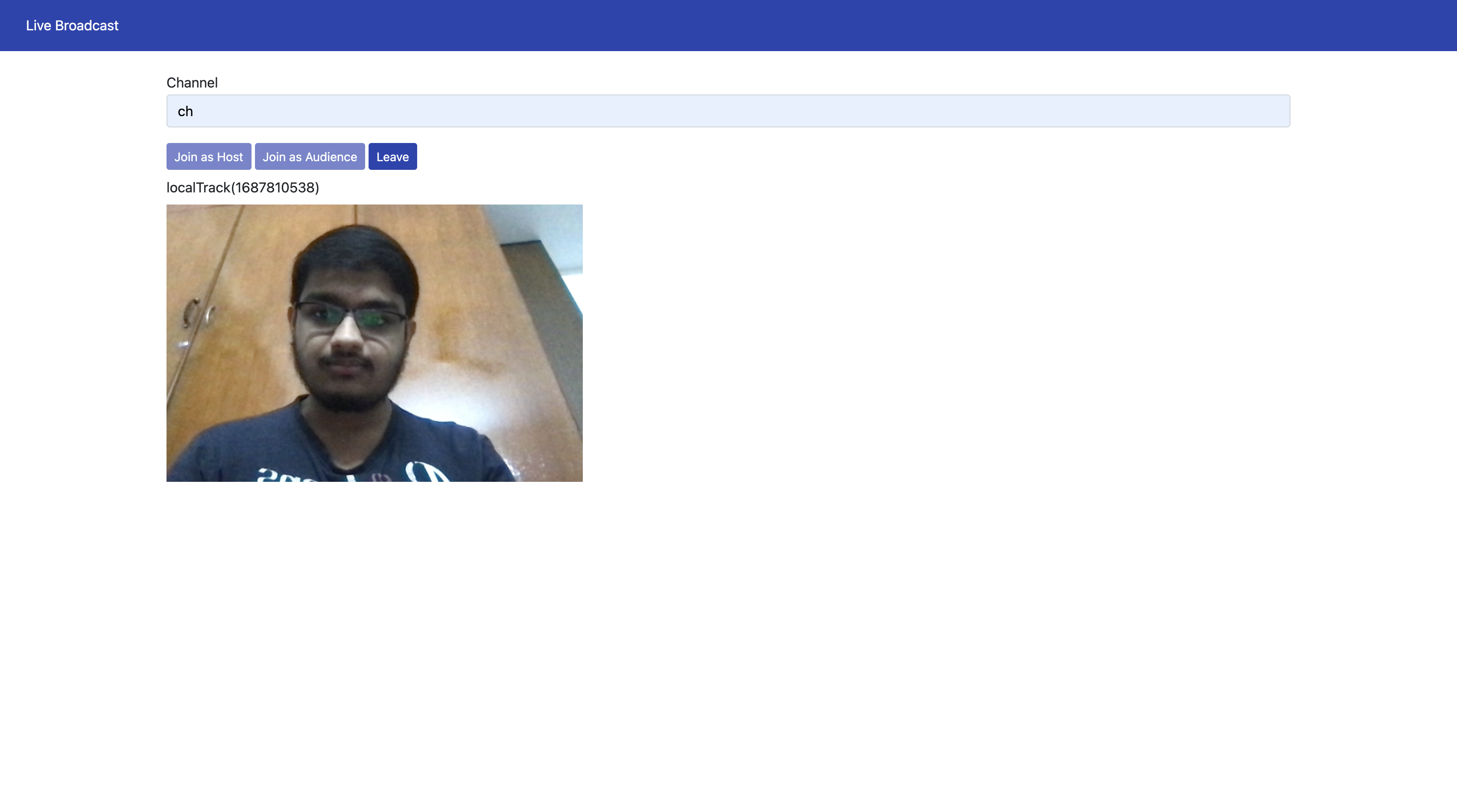 Screenshot of the simple live streaming application we will be developing.