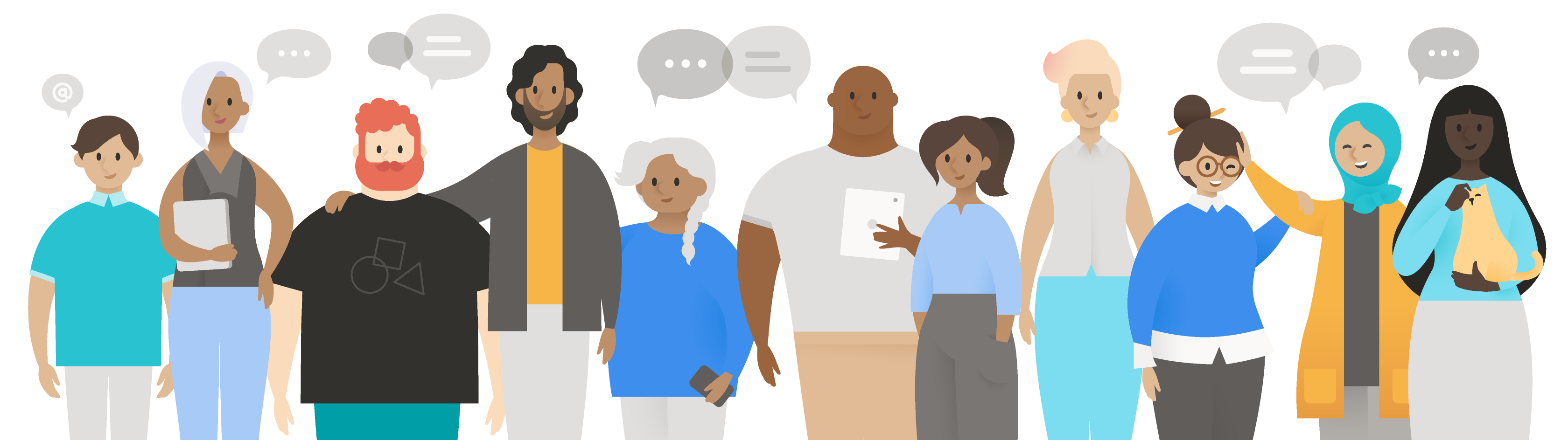 An illustration of of varying ages, genders, ethnicities, dress, and body types standing face forward.