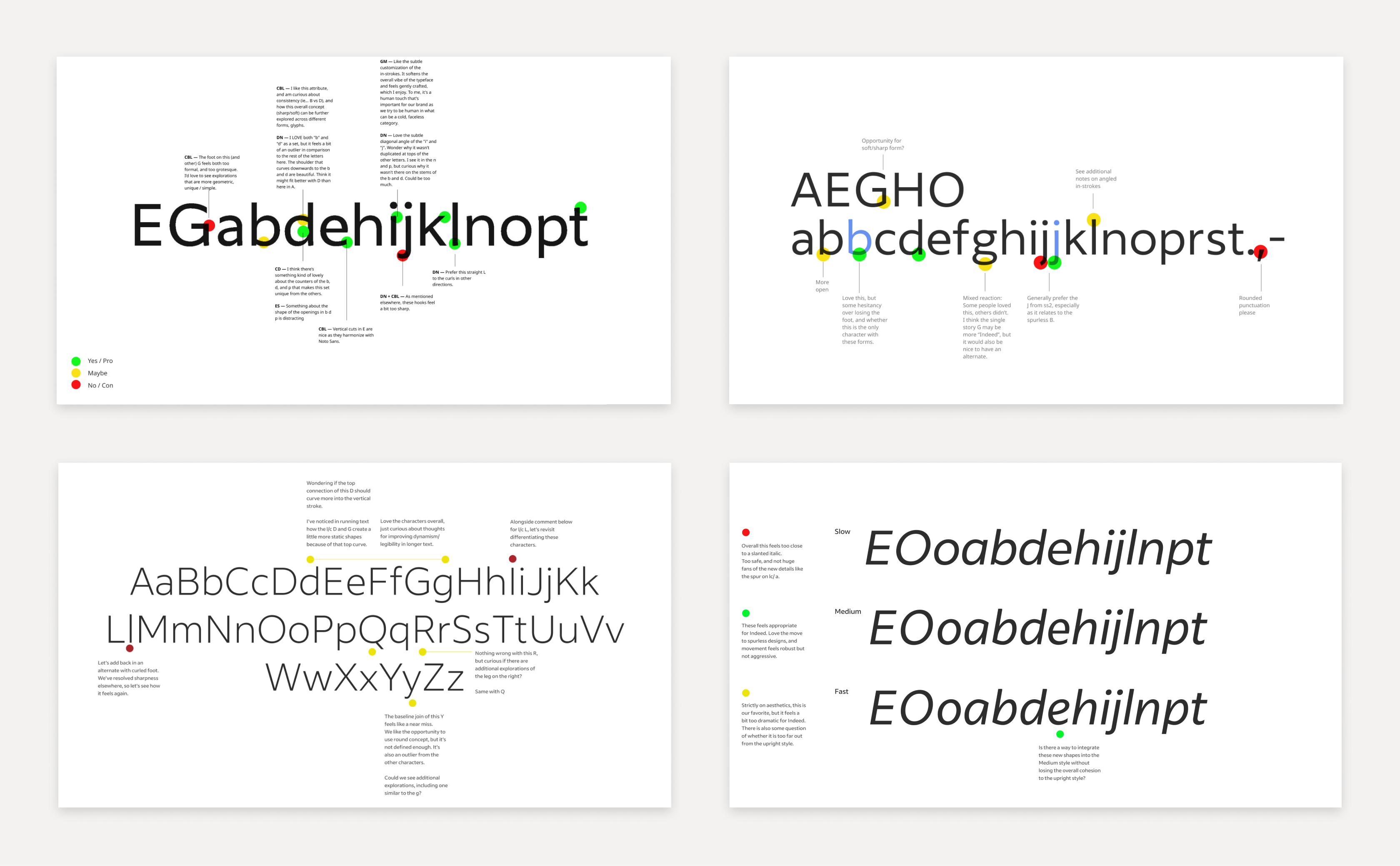 Four examples of in-progress Indeed Sans type specimens annotated with feedback from Indeed teammates.