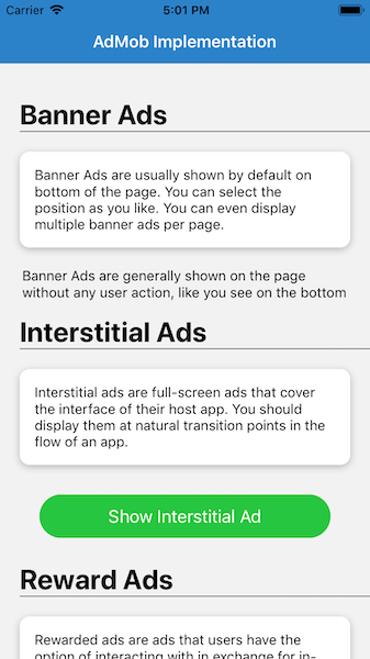 Basic UI for AdMob implementation in React Native—iOS