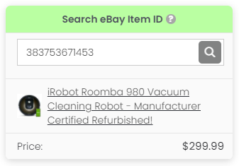 """3Dsellers eBay Fee Calculator's """"search eBay item ID"""" setting and result"""