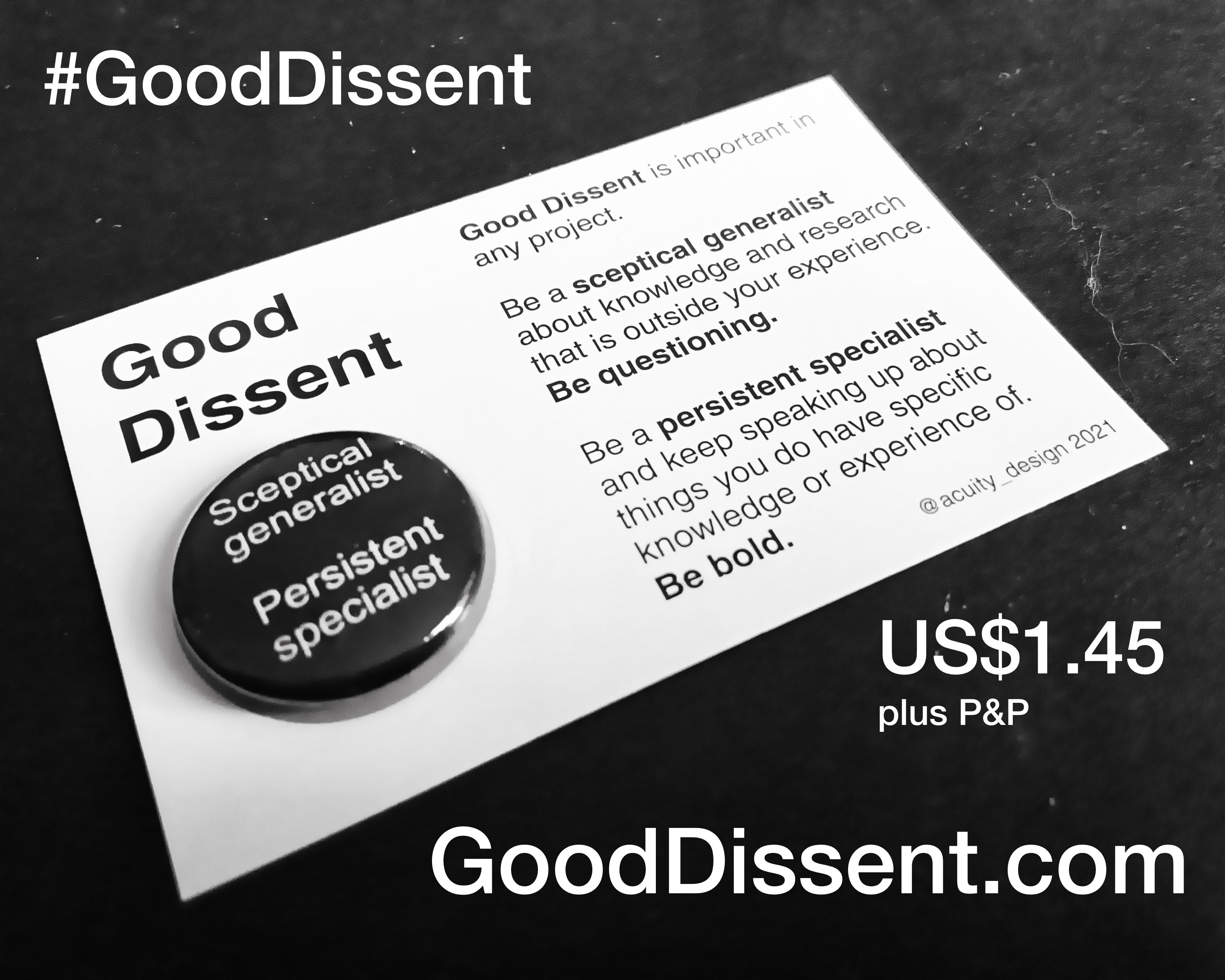 Good Dissent badge on card with noth of $1.45 cost and web address ar gooddissent.com