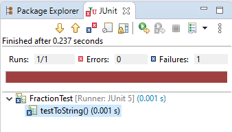 Detail of JUnit test results in Eclipse.