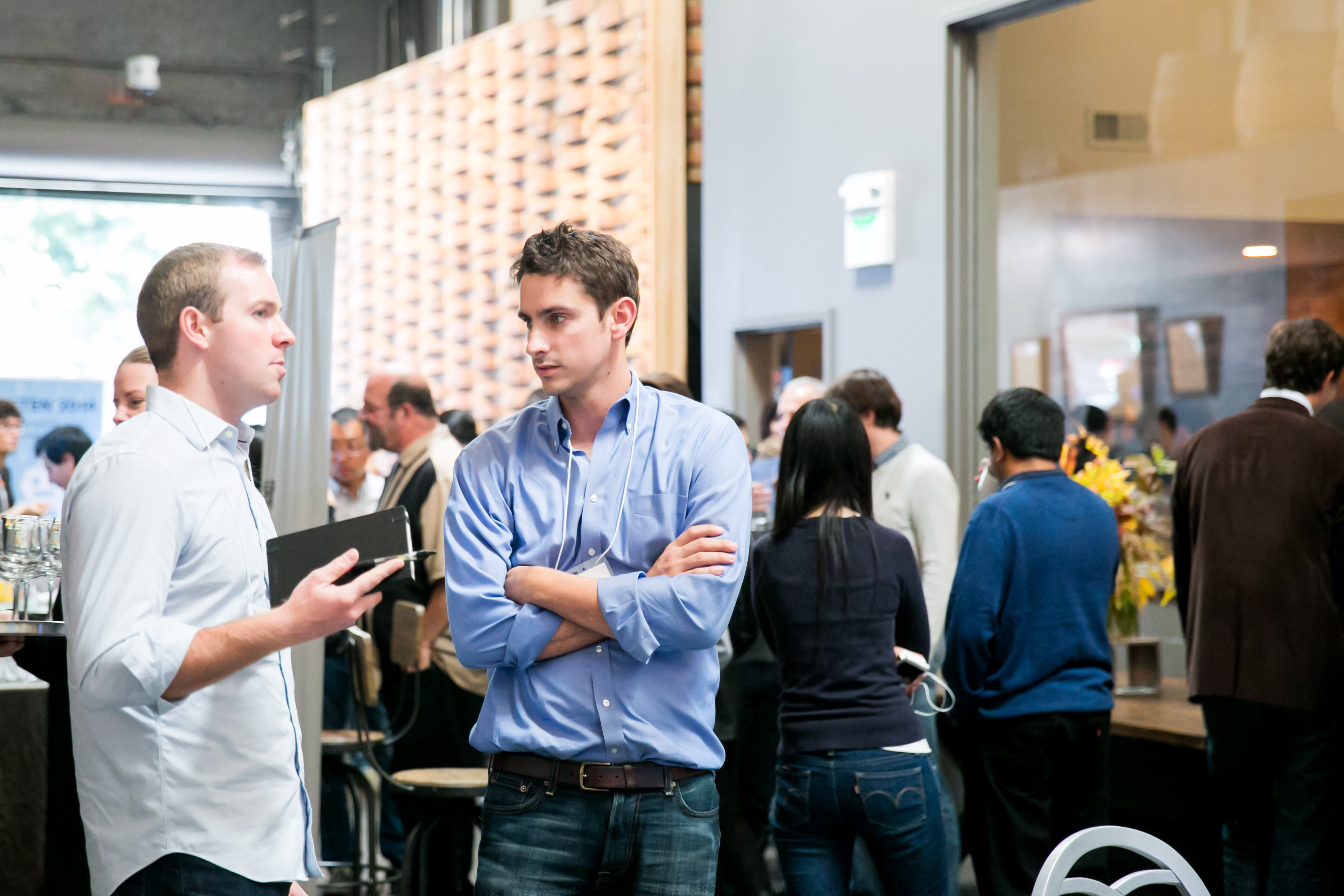 Attendees chatting