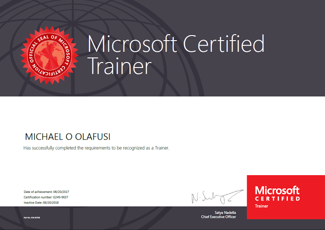 finally i am now a microsoft certified trainer mct