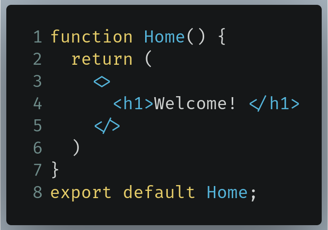 The Home component in our example