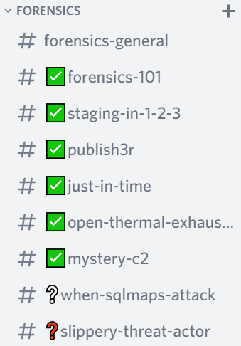 Discord channels showing green checkboxes, a white question mark, or a red question mark